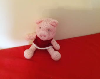 Crochet pink pig 12 in tall,dol   #18g
