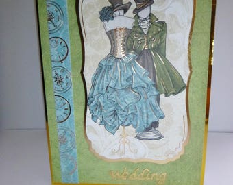 Wedding Card, On Your Wedding Card, Steampunk Card, Bride and Groom, Happy Couple,