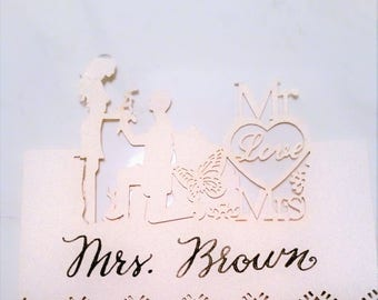 10 Wedding Tags, Custom Calligraphy, Place Cards