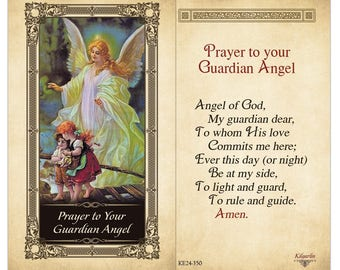 Guardian Angel Laminated Holy Card - on Holy Card