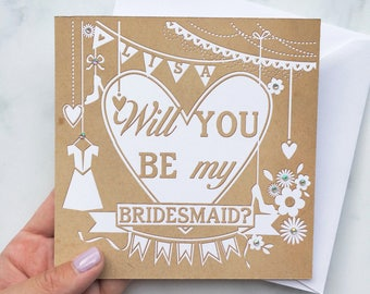 Be My Bridesmaid, Will you be my Bridesmaid Card, Bridesmaid Card, Bridesmaid Invite, Personalised Bridesmaid Card, Papercut Effect