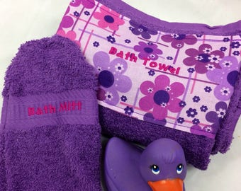 Baby Bath Apron Towel for Moms in Purple with matching flowers on Cotton Fabric Print