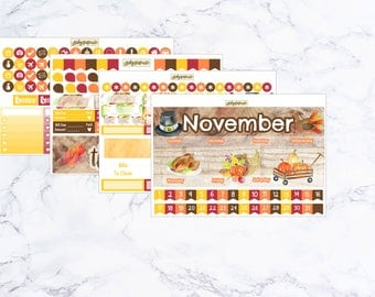 November Monthly Kit Thanksgiving Theme ~ For Use With Erin Condren Life Planners