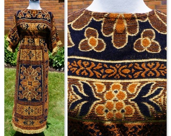 Vintage and Handmade! Festival Dress, Hippie, Boho, Burning Man Outfit, Caftan, Kaftan Style, Empire waist, Fringe, Side Slit, 60s