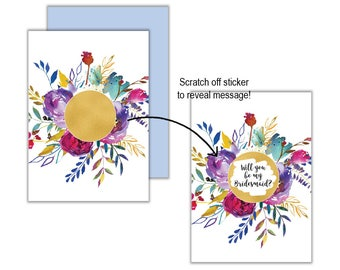Gold Vibrant Floral Will You Be My?... Scratch Off Card, Will you be my Bridesmaid, Will you be my Maid of Honour, Scratch Off Greeting Card