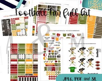 Football Fan Full Kit- Printable Planner stickers, Football Stickers, Planner stickers, Erin Condren, Happy Planner