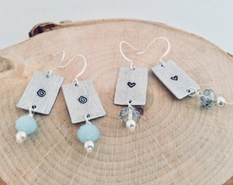 Womens Earrings/Hand Stamped Earrings/Custom Jewelry/Heart Earrings