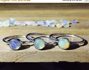 ON SALE Natural Opal Ring 925 - Simple Ring - Fire Opal Ring - Ethiopian Opal Ring - October Birthstone Ring