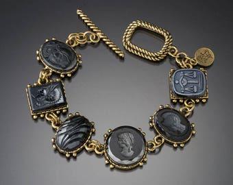 Vintage Hematite Intaglio Multi Charm Bracelet
