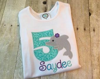 Dolphin birthday shirt girls - Ocean birthday shirt - Beach birthday shirt girls - Girls birthday - Birthday shirt for girls - Girl birthday