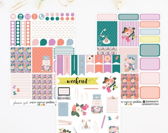 Planner Girl Weekly Monthly Planner Sticker Kit Erin Condren Inkwell Press Happy Planner Plum Paper Floral Set weekly kit Stationary Office