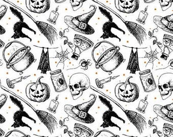 Halloween Fabric, Witches Brew on White, Black Cats, Eat Drink and Be Scary, Pumpkins, by Windham, 429021