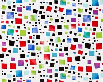 Anything goes, Geometric Fabric, Fabric with Multicolored squares, by Contempo, 1767-09