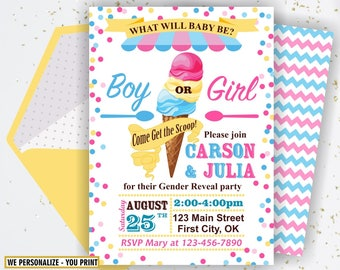 Ice Cream Invite, Gender Reveal Invitation, What Will It Bee, Gender Reveal Party, Pink Blue Gender Reveal Shower, Girl Boy BSIC1