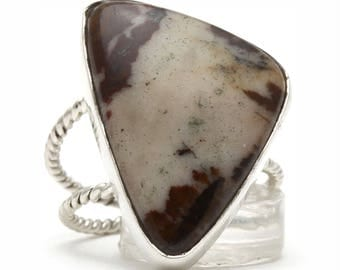 Petrified Wood Ring, 925 Sterling Silver, Unique only 1 piece available! SIZE 7.75 (inner diameter 18mm), color brown, weight 5.6g, #3608
