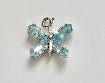 Sterling Silver Blue Cubic Zirconia cz Butterfly Charm Pendant