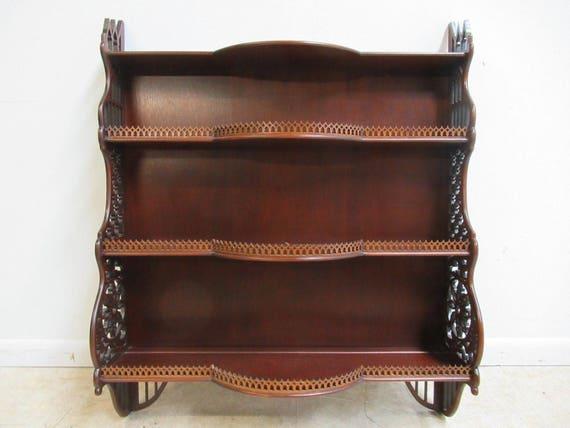 Custom Made Mahogany Pierce Carved Hanging Wall Shelf Display Curio Bow Front