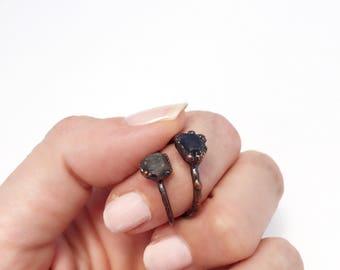Sapphire Ring, Raw Sapphire Ring, Sapphire Copper Ring, Sapphire Stacking Ring, Antique Copper Ring, September Birthstone Ring