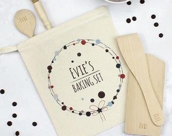 Personalised Childs Baking Set, Bubbles Wreath - Personalised Baking Set - Kids Baking Set - Kids Gift - Baking Gifts - Baking Kit