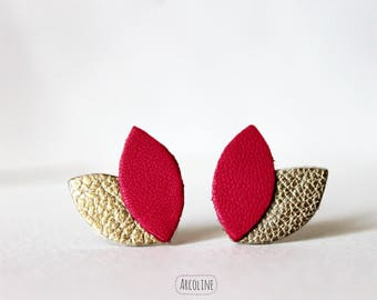Earring studs leather Golden cherry petals