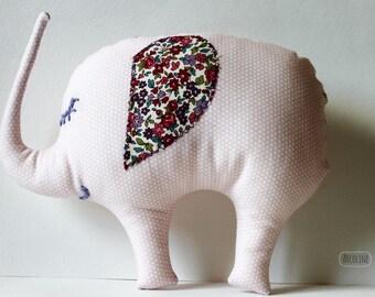 Plush Stuffed Elephant pink polka dot cotton fabric