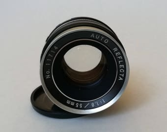 Auto Reflecta 55 mm 1,8 Lens. Vintage 1970s SLR Camera Lens with M42 Thread Mount