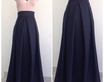 Maxi Skirt / High Waisted Skirt / Womens Skirts / Long Skirt / Skirt With Pockets / Black Skirt / Cotton Skirt