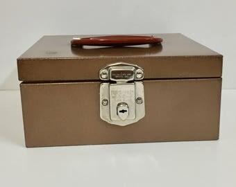 Vintage Check File Box/ Vintage Metal Box/ Vintage File Box
