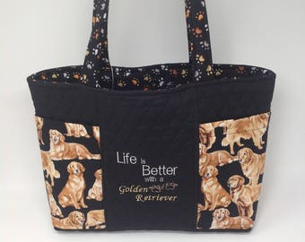 Golden Retriever Quilted Tote Bag