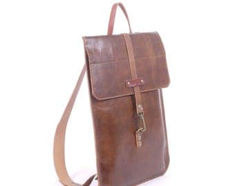 Leather Slim Backpack