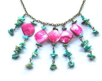 Collier rose et turquoise en pierres naturelles