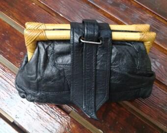 Vintage Black Leather Makeup, Cosmetic Bag, Leather makeup bag, leather pouch, makeup bag,  leather toiletry bag