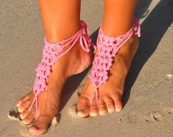 Pink Barefoot Sandals, Crochet Barefoot Sandal, Barefoot Jewelry, Boho Barefoot Sandals, Boho Jewelry, Beach Barefoot Shoes, Gift for Her