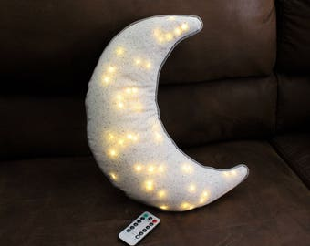 "Moon Beam Pillow, (16"") LED lights and remote control, glow pillow"