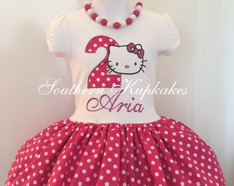 Girls Kitty Birthday Dress Twirl Custom Made Cat Hello Party Boutique Pageant Handmade 1st First 2nd Second 3rd Third