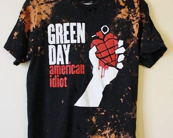 Splatter Bleached and Shredded Green Day T Shirt Medium