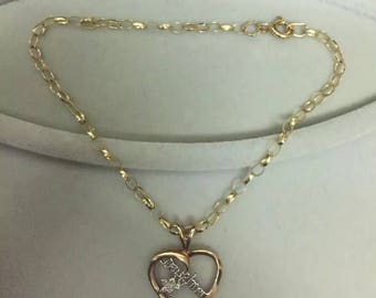 9ct Gold daughter diamond pendant and belcher bracelet