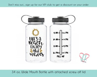Life is a Beach - 34 oz - Beach Water Bottle - Water Tracker - Water Bottle with times - Several Colors Available, Fitness Water Bottle