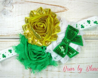 St. Patrick's Day Triple shabby flower headband!
