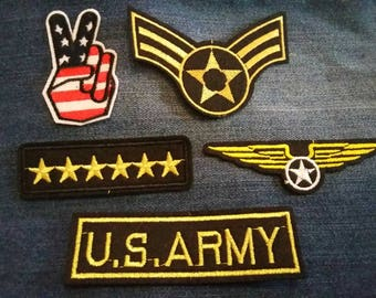 Job Lot of Iron on Patches. Army Military Badges.USA Stars & Stripes