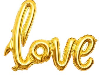 LOVE Balloon | Bridal Shower Decor | Engagement Party Decor | Bachelorette Party Decor | Hen Party Decor | Wedding | Proposal | Gold