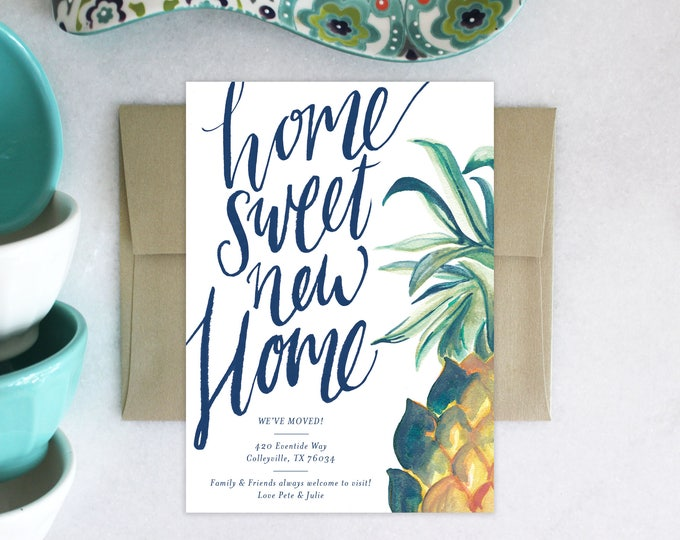 PRINTABLE Pineapple Moving Announcement | Home Sweet New Home