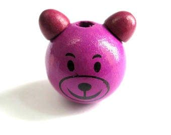 Wooden bead in purple and plum 28x25mm 3D bear head