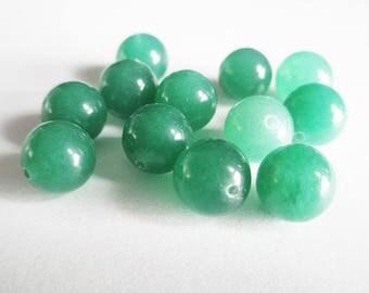 dark green natural jade 10mm 10 beads