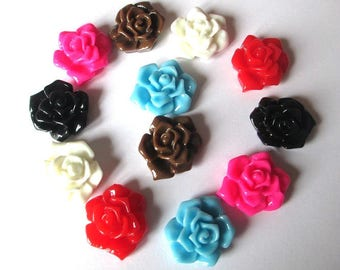 12 resin cabochon flower mix color 21x17x7mm