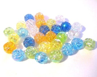 60 acrylic beads flower ab color mix color 8x7mm