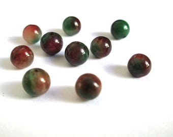 10 red and green 6mm natural jade beads