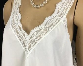 SALE Vintage Christian DIOR White Lace Camisole Top Large 1980s White Women's L Bridal
