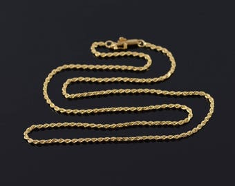 1.7mm Fancy Rope Link Chain Necklace Gold