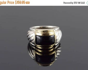 Big SALE Sterling Silver/14k Amal Guessous Black Onyx Ring Gold